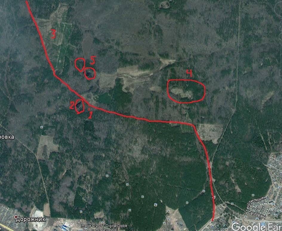 Космический снимок. 1 - колодец, 2 - Лесное озеро, 3- Горелая вырубка, 4 - болото Журавенька, 5 - болота Малые Торфа.